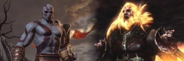 Kratos and Ares from God of War