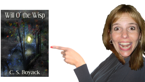 Vanessa pointing at Will O the Wisp book